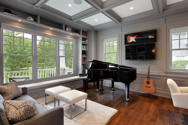 Guitar Stool Living Room Traditional with Black Grand Piano Built In
