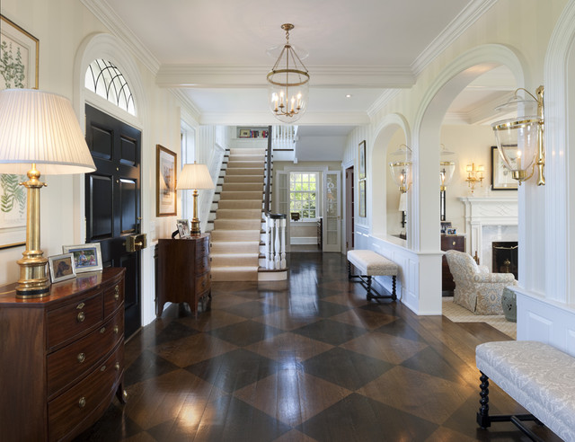 Hardwood Floor Buffer Entry Traditional with Antique Light Fixture Arched