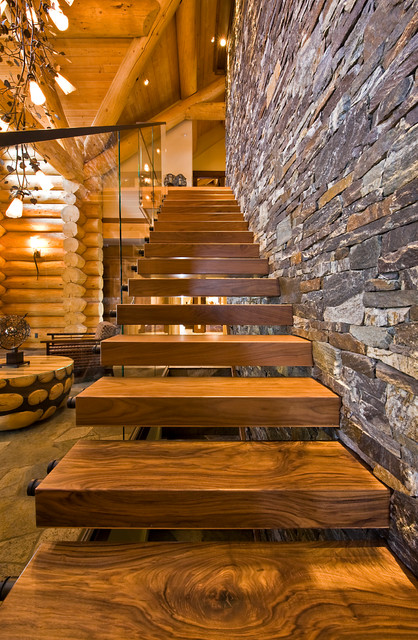 Hardwood Stair Treads Staircase Rustic With Cantilevered Stairs  Exposed Beams