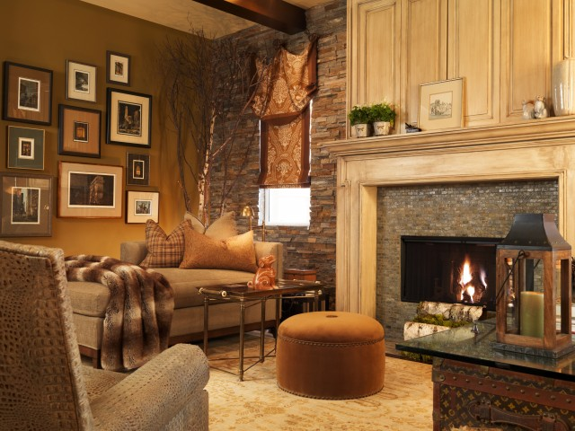 Harmony Homes Las Vegas Family Room Traditional with Alligator Leather Ceiling Beams