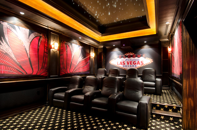 harmony homes las vegas Home Theater Contemporary with black leather lounge chair