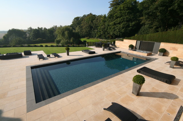 Hayward Pool Products Pool Contemporary with Black Outdoor Furniture Fence