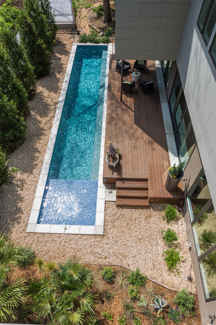 Hayward Pool Products Pool Contemporary with Concrete Pool Deck Covered