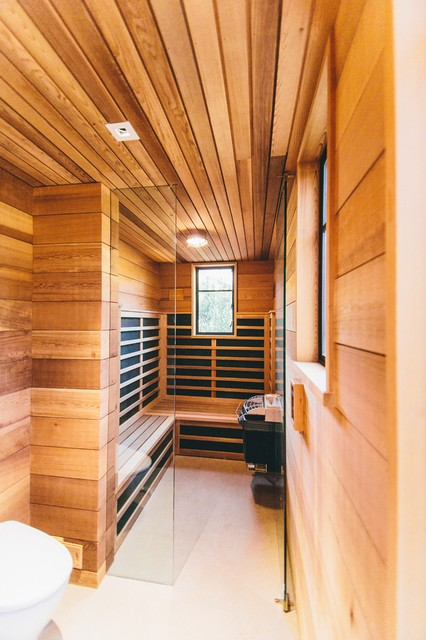 Health Mate Sauna Spaces Contemporary with Built in Bench Ceiling