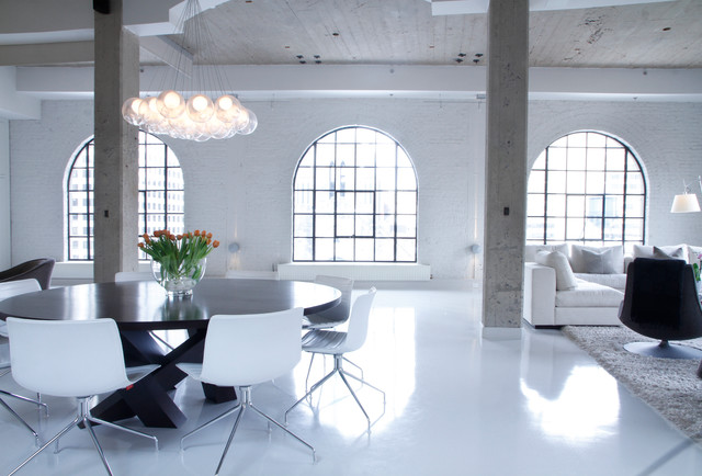 Heated Floor Mat Living Room Industrial with Arched Windows Area Rug