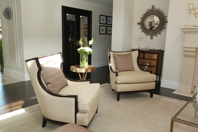 Henredon Living Room Contemporary with Area Rug Baseboards Chest