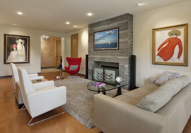 High Leg Recliner Living Room Contemporary with Artwork Ceiling Lighting Fireplace