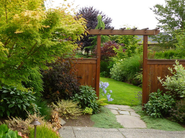 Holly Shrub Landscape Contemporary with Bushes Doorway Grass Japanese