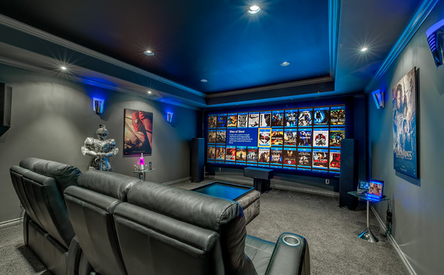 Homemade Projector Screen Home Theater Contemporary with Gray Carpet Gray Wall