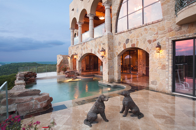 Hot Dog Griller Pool Mediterranean with Arches Columns Covered Patio