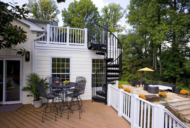 How to Build a Spiral Staircase Deck Traditional with Brick Exterior Brick Siding