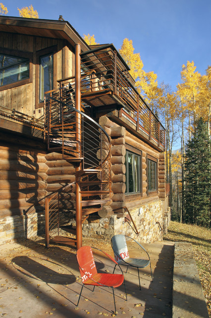 how to build a spiral staircase Exterior Rustic with cabin lodge log cabin