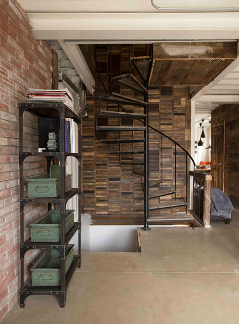 How to Build a Spiral Staircase Staircase Industrial with Beton Boho Brick Wall