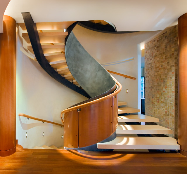 How to Build a Spiral Staircase Staircase Modern with Circle Glass Handrail Inspired