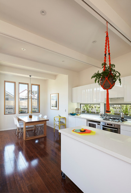 How to Clean Bamboo Floors Kitchen Contemporary with Ceiling Beams Dark Wood