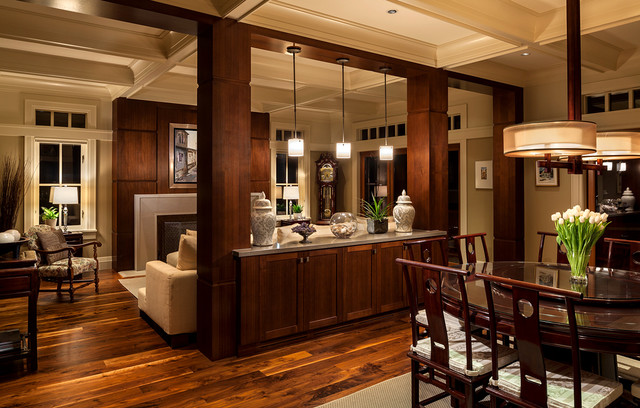 Howard Miller Clocks Dining Room Traditional with Banquette Ceramic Urns Coffered3