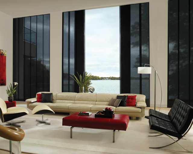 Hunter Douglas Window Treatments Living Room Modern with Chair Large Window Leather