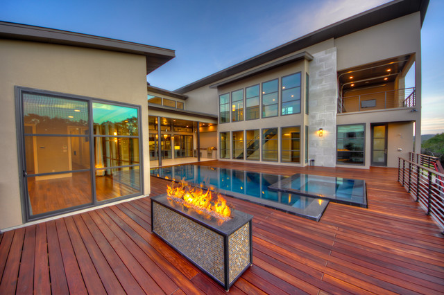 Hurd Windows Pool Contemporary with Balcony Deck Fire Box