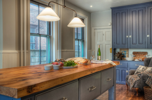 Ikea Butcher Block Countertop Kitchen Traditional with Beadboard Blue Cabinets Butcher