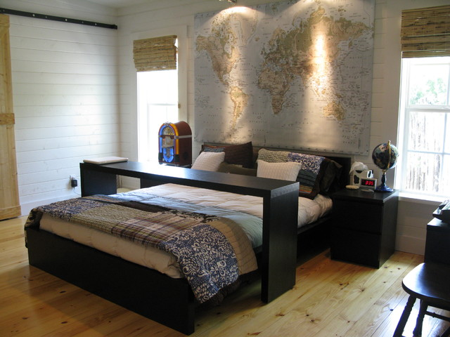 Ikea Queen Mattress Bedroom Traditional with Bamboo Blinds Bedside Table