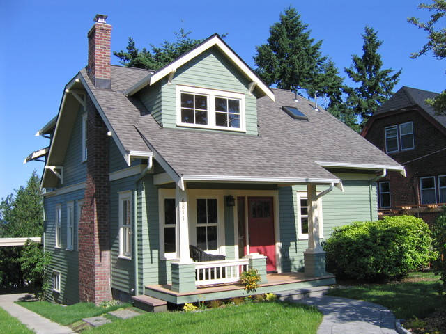 iko roofing Exterior Traditional with addition brick chimney bungalow