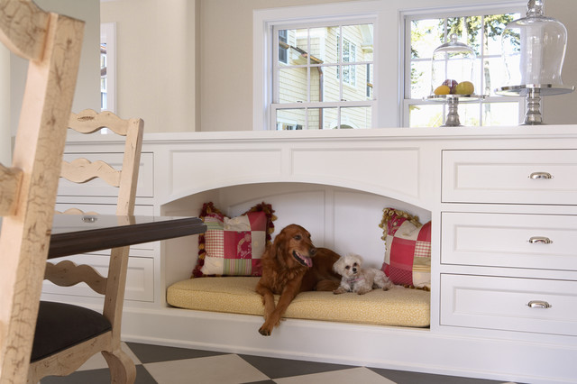 Indestructible Dog Bed Kitchen Traditional with Black and White Floor