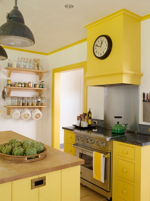 Induction Stoves Kitchen Farmhouse with Bright Yellow Farrow And