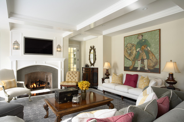 Infrared Fireplace Family Room Traditional with Area Rug Ceiling Lighting