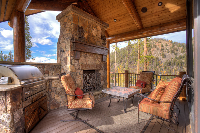 Infrared Fireplace Porch Rustic with Granite Countertop Iron Fireplace