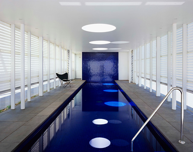 Inground Fiberglass Pools Pool Contemporary with Butterfly Chair Dark Blue