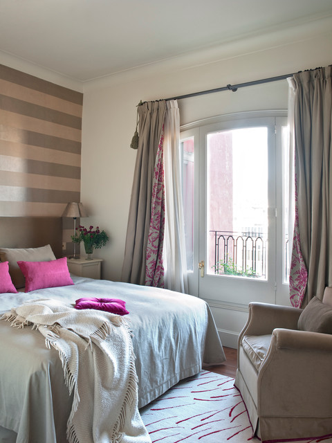 insulating curtains Bedroom Transitional with accent wall arched door