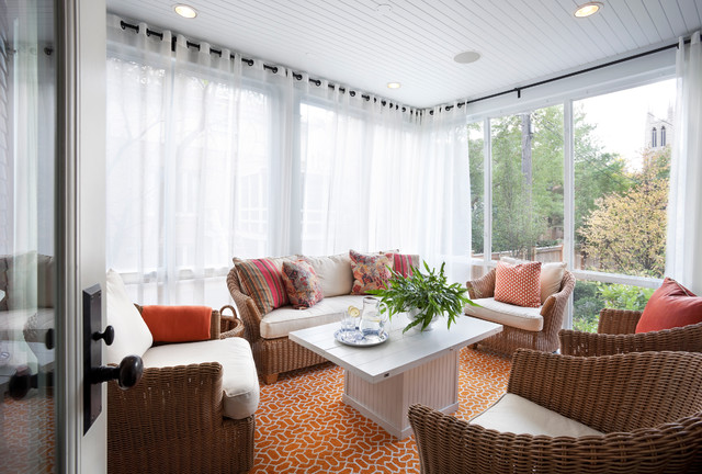 Insulating Curtains Sunroom Transitional with Glass Wall Orange Rug
