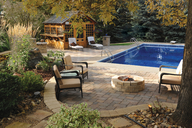 Interlocking Pavers Pool Traditional with Backyard Beige Outdoor Cushions