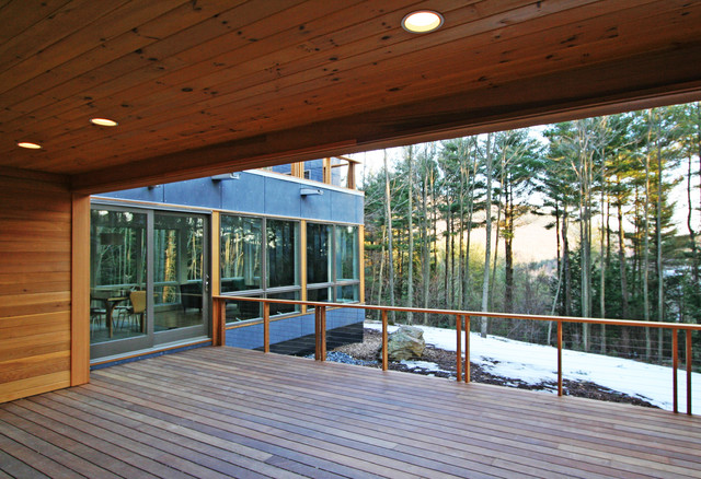 ipe wood decking Exterior Contemporary with cable railing cedar siding