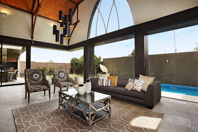 Jen Weld Windows Living Room Contemporary with Arched Window Area Rug