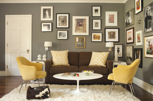 John Moore Plumbing Home Office Transitional with Artwork Baseboards Collage Dark