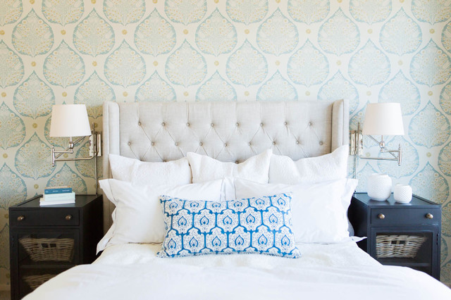 John Robshaw Bedroom Traditional with Blue and White Sconces