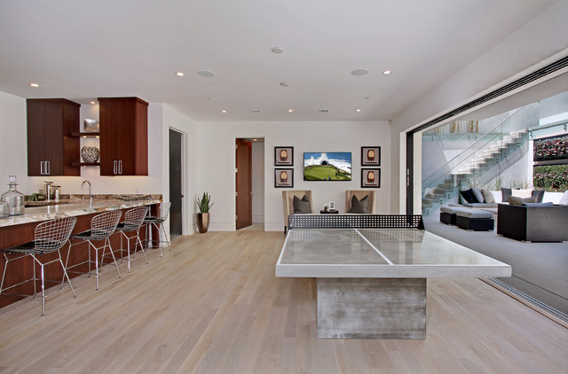 Joola Ping Pong Table Basement Contemporary with Cherry Cabinets Copper Vase