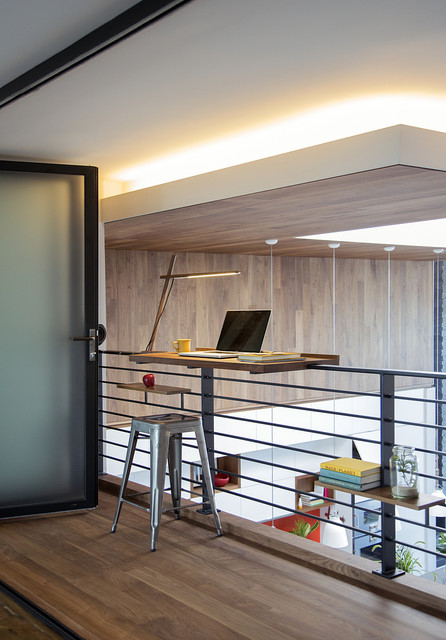 Kangaroo Standing Desk Home Office Contemporary with Bifold Frosted Glass Door