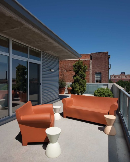 kartell furniture Deck Modern with balcony container plants high