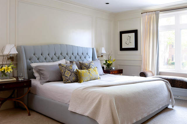king size tufted headboard Bedroom Traditional with beige carpet blue and
