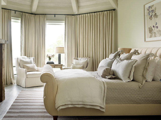 King Sleigh Bed Bedroom Transitional with Beige Beige Curtains Neutral
