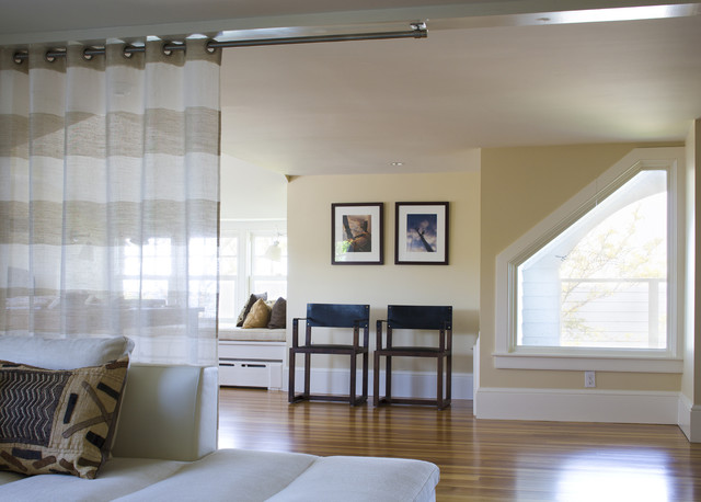 Kirsch Curtain Rods Family Room Beach with Angled Window Beige Bench