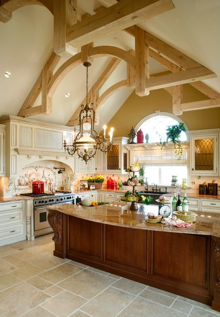 Kitchler Lighting Kitchen Traditional with Artistic Tile Beige Field