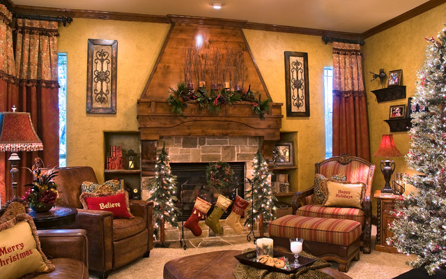 knitted christmas stockings Living Room Traditional with beige carpet beige wall
