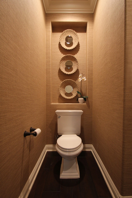 Kohler Toilet Seats Powder Room Contemporary with Baseboards Crown Molding Dark