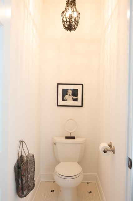 Kohler Wellworth Powder Room Contemporary with Baseboards Black and White