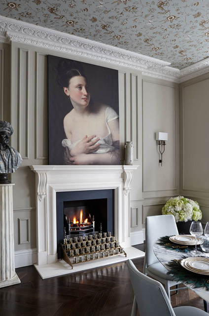 Kozy Heat Fireplaces Dining Room Traditional with Art Artwork Cornice Cornices