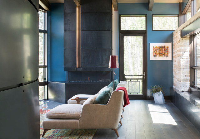 Kozy Heat Fireplaces Living Room Contemporary with Blue Accent Walls Chimney