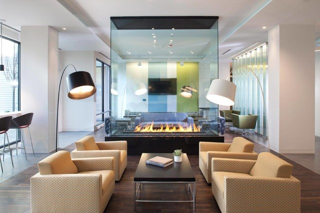 Kozy Heat Fireplaces Living Room Contemporary with All Glass Bar Stools